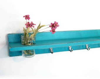 Wood Wall Shelf  Spring Bold Turquoise Color Cottage Mason Jar
