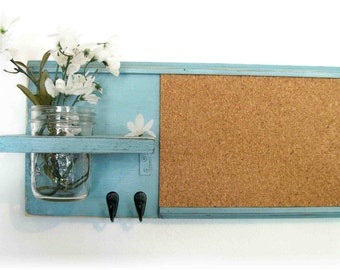 Light Turquoise Color Retro Style Wall Shelf Cork Bulletin Board Message  Center Hooks Country