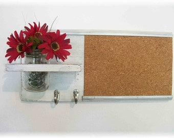 Wood Wall Shelf Cork Bulletin Board Message  Center Hooks Wedding Linen White