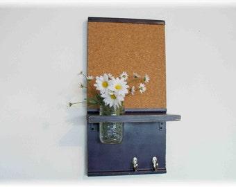 Wood Wall Shelf Cork Board Memo Message  Center Hooks Deep Grape Purple  Color