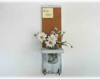 Wood French Country Kitchen Mason Jar Shelf Cork Bulletin Board Center Hooks Linen White Color