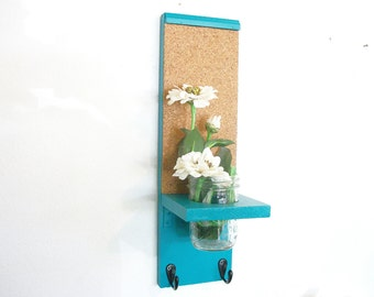 Wood Kitchen Hall  Shelf Cork Bulletin Board Center HooksTurquoise  Color
