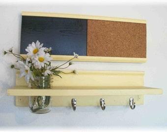 Wall Shelf Cork & Blackboard Bulletin Board Message Center Hooks Country Buttery Yellow Color