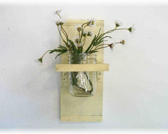 Spring Flowers Primitive Country Buttery Yellow wood  Cottage Wall Shelf