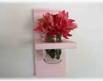 Flowers Cotton Candy Pink  Wood Mason Jar Primitive Cottage Wall Shelf