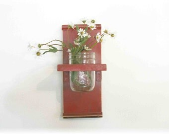 Flowers Primitive Wood Wall Shelf  Primitive Faded Barn Red Color  Shabby Chic Cottage Ready to Ship