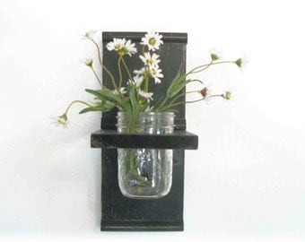 Industrial Black Wood Mason Jar  Flowers Wall Shelf