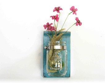 Flowers Wood Wall Shelf Faded Retro Mod  Turquoise  Color Mason Jar