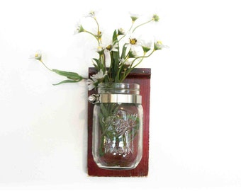 Flowers Wood Wall Shelf Worn Faded Black Cherry Color Mason Jar