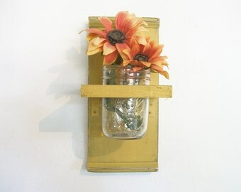 Fall Flowers Wood Wall Shelf  Primitive Cornflower Pumpkin Mustard Yellow Color  Cottage