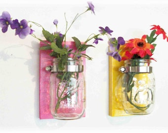 Sweet Flower Pink & Sunshine Yellow Mason Jar Flower Holders