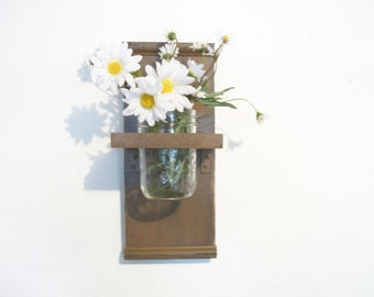Flowers Primitive Wood Wall Shelf  cottage Faded Chocolate Brown Color  Cottage
