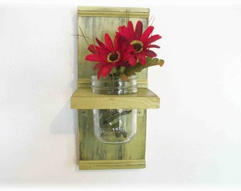 Flowers Wood Wall Shelf  Faded Olive Lime Green  Retro Color Shabby Chic