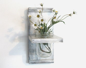 Flowers Wood Wall Shelf  Faded Linen Wedding White  Color Shabby-N- Chic French Country