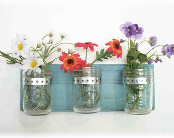 Flowers. Mason Jars, Robin Eggs Blue Cottage Rustic Shelf
