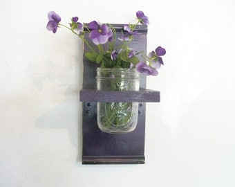 Flowers Wood Wall Shelf  Bold Grape Purple Color Cottage Mason Jar