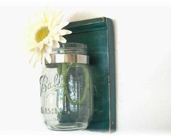 Flowers Wood Wall Flower Jar Shelf  Teal Blue Green Color Mason  Jar