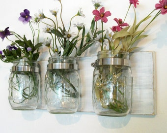 Flowers , Flowers & Flowers. Mason Jars, Shabby Worn linen white Cottage Rustic Shelf