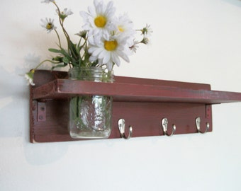 Primitive Country Black Cherry Red  WOOD 3 Coat Hooks Cottage Wall Shelf
