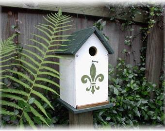 Folk Art Primitive Fleur De Lis Birdhouse