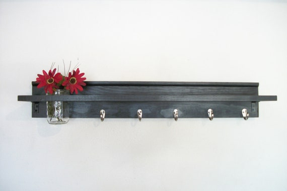 Wood Industrial Wall Shelf  5 Hooks Satin Black Color  Urban  35 Inches Long