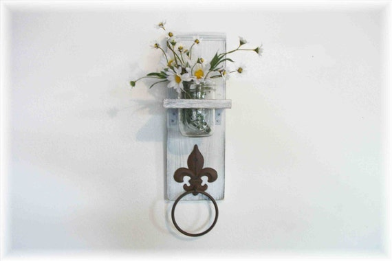 White Fleur de Lis towel hanger shelf flower vase shelf