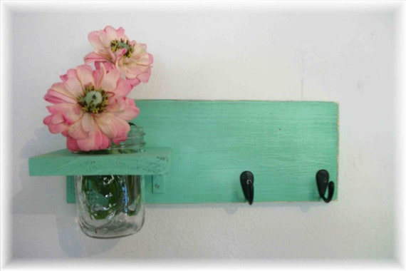 Wood Wall Shelf  Hooks Beach Retro Funky Wild Green Color Bathroom Kitchen Shabby Chic