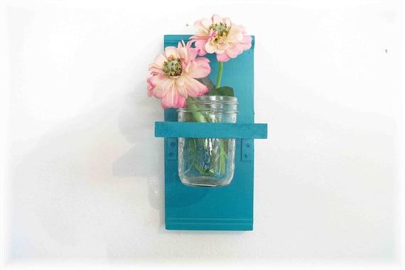 Wood Wall Turquoise  Color Shabby Chic Cottage Maison Jar Shelf