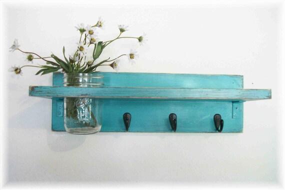 Beach Retro Mod Turquoise Color Primitive Shelf Black Hooks