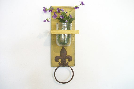 Wood Kitchen or Bathroom Wall Shelf  with Towel Ring  fleu de lis Primitive Cornflower Pumpkin Mustard Yellow Color
