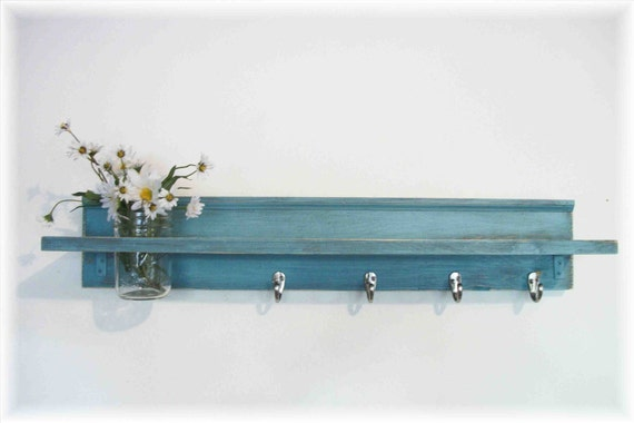 Wood Wall Shelf  Hooks Faded Robins  Egg Blue  Color 35 Inches Long  4 Hooks
