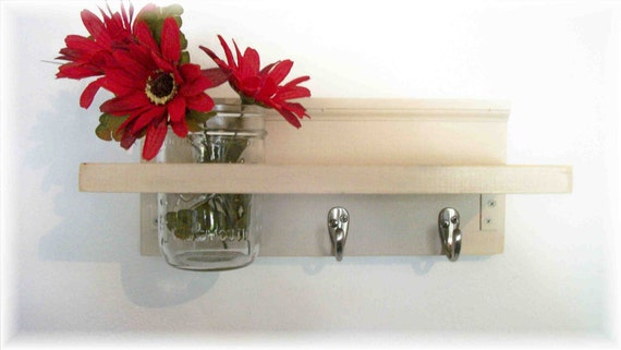 Wood Wall Shelf  Hooks Clean Soft Biege  Color Shabby  Chic Cottage
