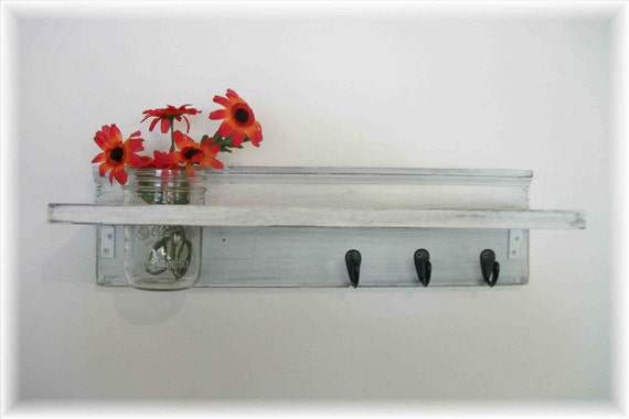 "Wood Fench Country Wall Shelf  30"" Wide Hooks Faded Linen Wedding White  Color Beach Cottage"