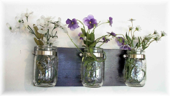 Spring Flowers , Flowers & Flowers. Mason Jars, Deep Grape Purple Cottage Rustic Shelf