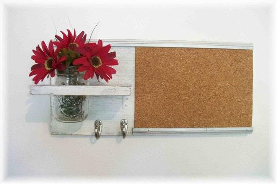 Wood Wall Shelf Cork Bulletin Board Message  Center Hooks Wedding Linen White  Color