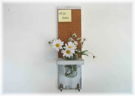 Wood French Country Kitchen Mason Jar Shelf Cork Bulletin Board Center Hooks Linen White Color