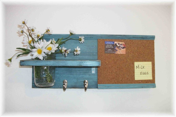 Wood Wall Shelf Cork Bulletin Board Message  Center Hooks Robin's Egg Blue Color