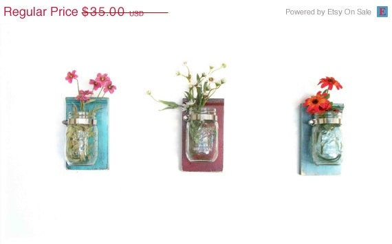 ON SALE 10% OFF  Spring Flowers Three Wood Wall Shelves Faded Paint Finishes Color Mason Jar  Shabby Chic