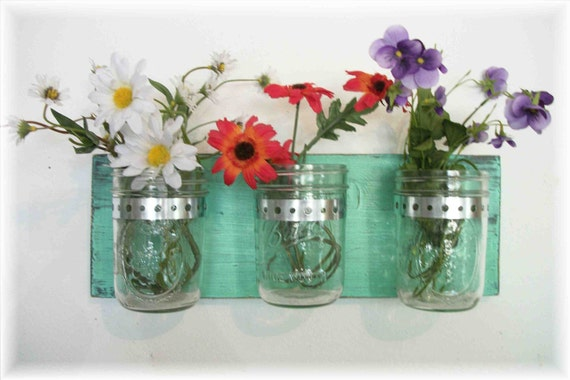 Flowers Flowers, Flowers & Flowers. Mason Jars, Pistachio Green  Cottage Rustic Shelf