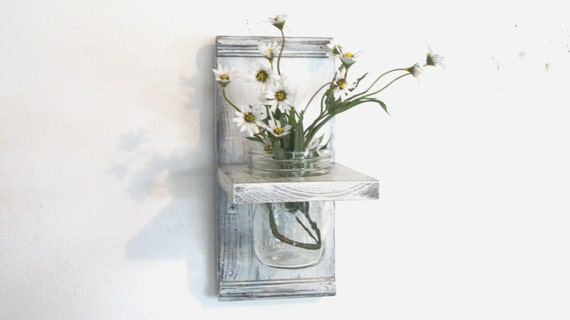 Spring Flowers Wood Wall Shelf  Faded Linen Wedding White  Color Shabby-N- Chic French Country