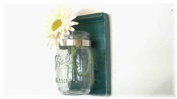 Spring Flowers Wood Wall Flower Jar Shelf  Teal Blue Green Color Mason  Jar