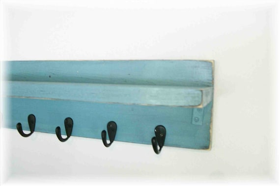 Wood Wall Shelf  Hooks Faded Robin Egg Blue Color Jewelry Hanger 6 Hooks