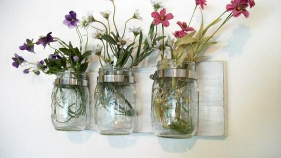 Spring Flowers , Flowers & Flowers. Mason Jars, Shabby Worn linen white Cottage Rustic Shelf
