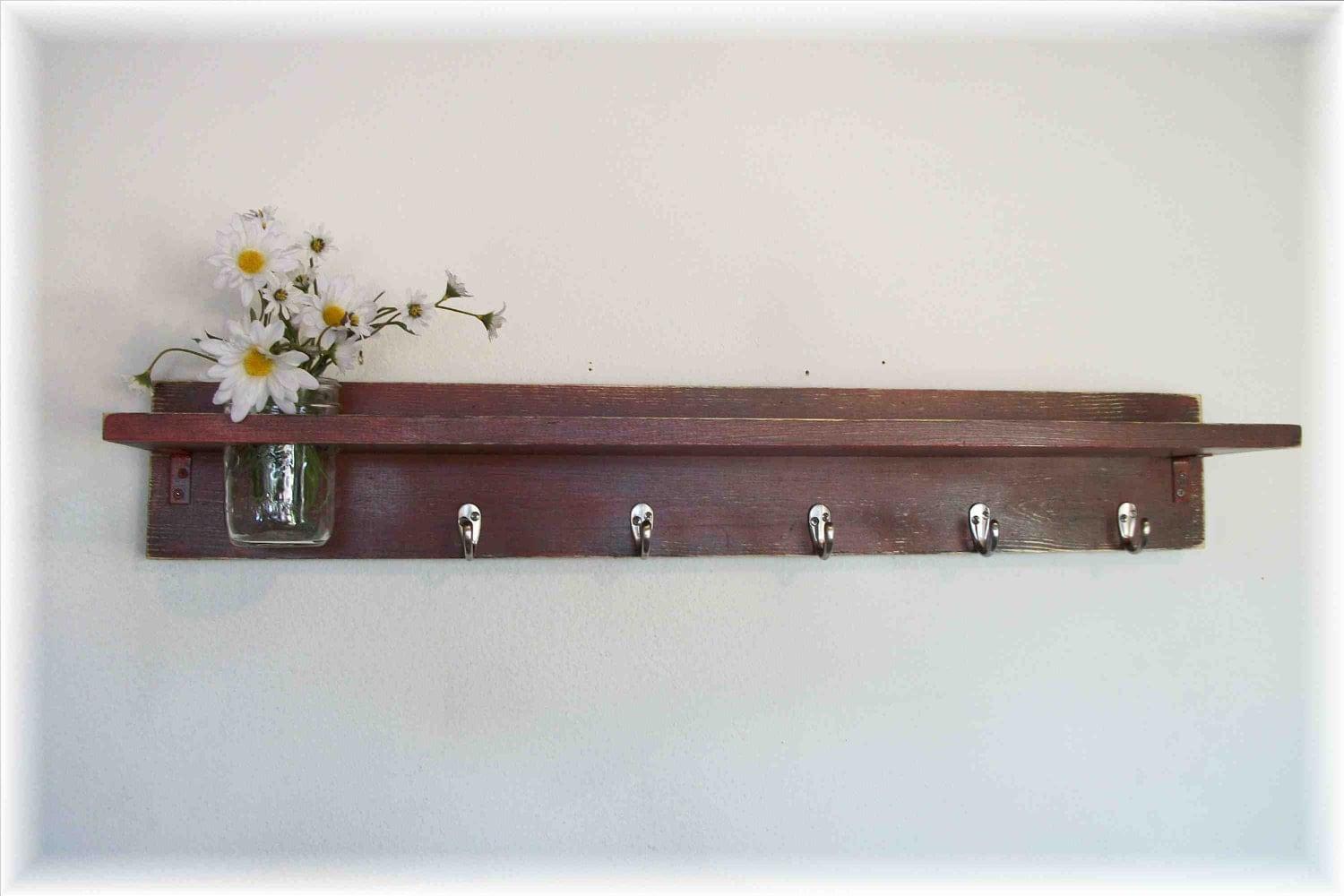 Wood Wall Shelf Country Primitive BARN RED Color 5 Hooks 35