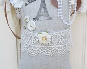 Natural Canvas Paris Themed Hanging Sachet With Venise Lace And roses And Crochet Work