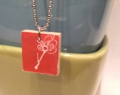 Red Cherry Blossom Scrabble Tile Pendant - REDUCED PRICE