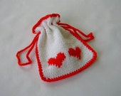 Hand Knit Gift Bag - 2 Red Hearts on White