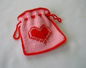 Hand Knit Gift Bag - Red Heart on Pink