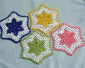 Spring Quartet - Thread Crochet Small Doilies \/ Coasters