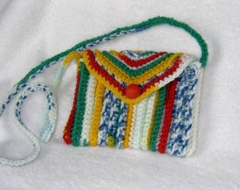 Crocheted Bag Purse Multicolor Crayon